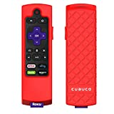 Cuauco Case for Roku Express 3900/ Express+3910/Roku Streaming Stick 3800/Roku Streaming Stick+ 3810,Protective Silicone [Anti Slip] Shock Proof Remote Controller Case (Model Year 2017,2018) (Red)