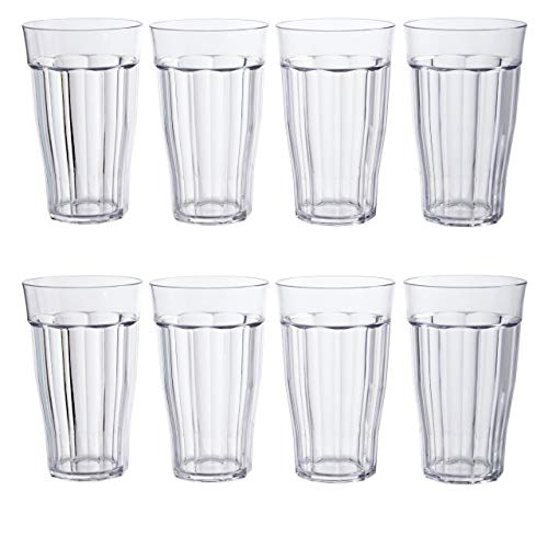 Rhapsody 16-ounce Plastic Tumblers | set of 8 Clear