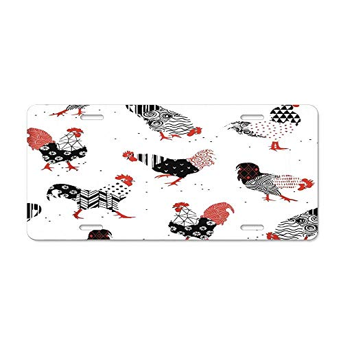 RAEDGEC Red Chicken Roosters Patterns are Drawn Symbol of Graphic Customized License Plate Cover Aluminum Metal Car Licenses Plate Frame Holder for US Vehicles