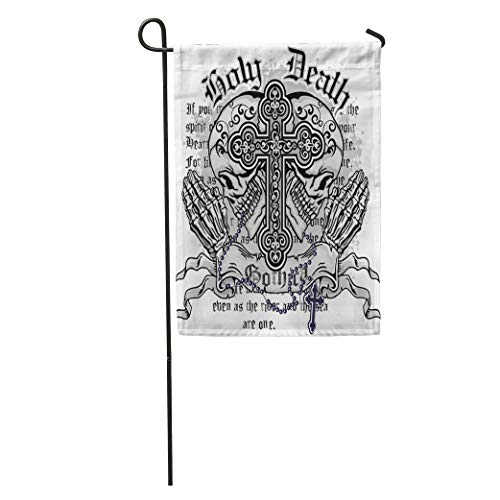 (Semtomn Garden Flag Angel Gothic of Arms Skull and Rosary Vintage Church Cross Home Yard House Decor Barnner Outdoor Stand 28x40 Inches Flag)