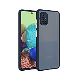 AE Mobile Accessories for Samsung A51 Back Case Smoke Translucent Shock Proof Smooth Rubberized Matte Hard Back Case Cover (Blue)