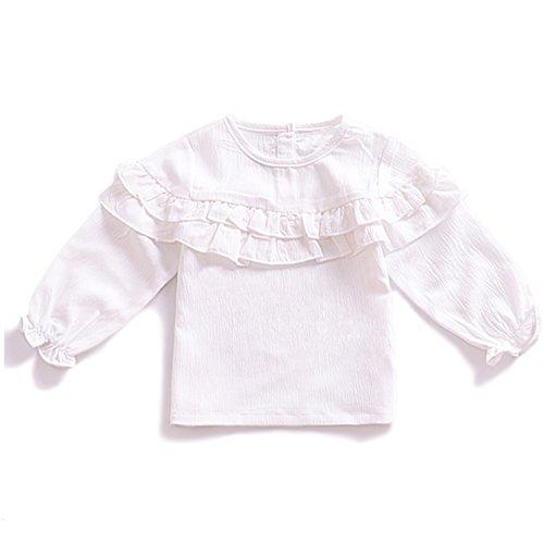 YOHA Baby Girls Spring Ruffle Top Blouse Shirt Long Sleeve Toddler Casual Tops (Ruffle Collar Shirt)