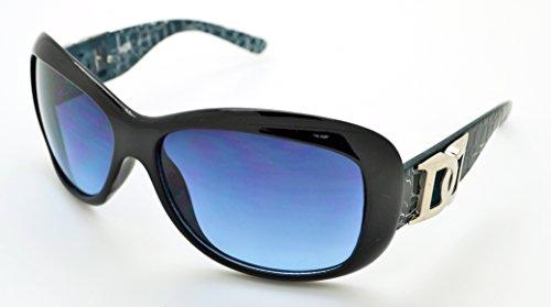 Vox tendance classique haute qualité pour femme Mode Hot Lunettes de soleil W/étui microfibre gratuit Black Frame - Blue Lens