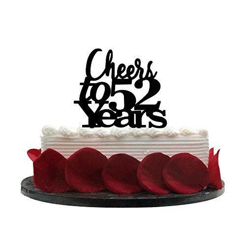 Year Birthday Cake - Cheers to 52 Years Cake Topper - 52nd Birthday, Wedding Anniversary, Retirement Party Bunting Sign Decorations Photo Props-Black