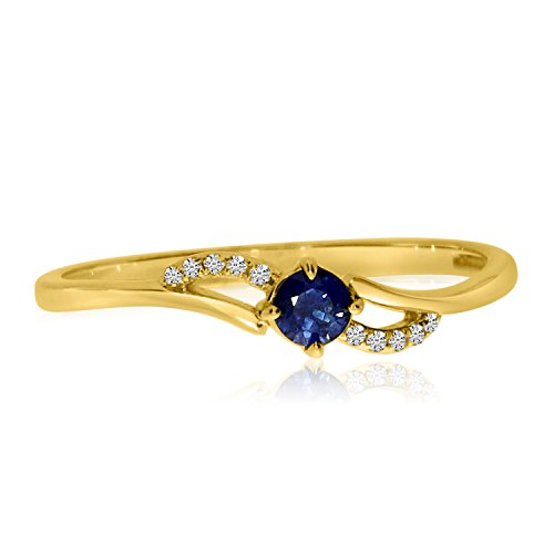 14K Yellow Gold 3 mm Round Sapphire and Single Cut Diamond Petite Birthstone Bypass Ring. Size 5.5