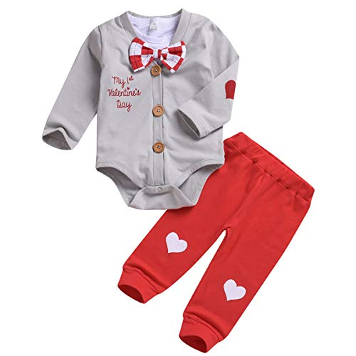 Camidy Infant Newborn Baby Boy Valentine's Day Outfits Romper+Pants Gentleman Clothes (18-24M, Red+Light Grey) -