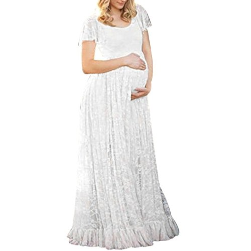 COSYOU Maternity Dress Sexy Short Sleeve Lace Gown Dress for Women (White, S)