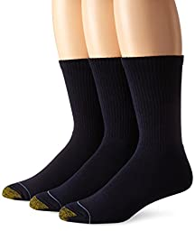 Gold Toe Men\'s Uptown Crew 3 Pack Socks, Navy, Sock Size 10-13/Shoe Size 6-12.5