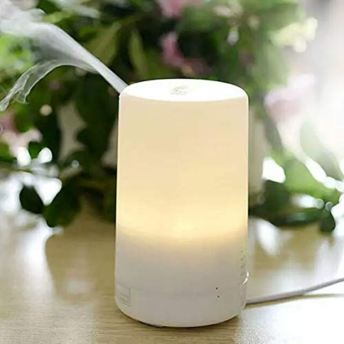 100 ml USB mini essential oil aroma diffuser, automatic off safety switch - 7 color LED lights and 4 timer settings suitable for home office car travel aroma diffuser (white)