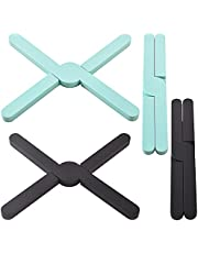 Newk 4 Pack Silicone Folding Trivets, Eco Expanding Silicone Pot Holder, Hot Pad, Collapsible Cross Design