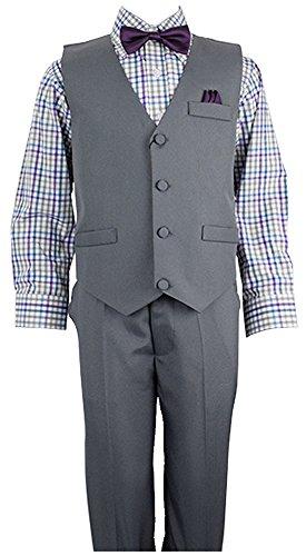 Vittorino Boys 4 Piece Suit Set with Vest Shirt Tie Pants and Hankerchief , Charcol/Purple , 4