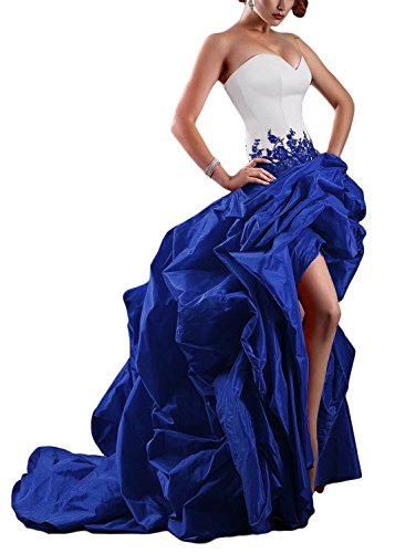 (Sweet Bridal Women's Strapless High Low Taffeta Evening Dress Ball Gown Royal Blue US4)