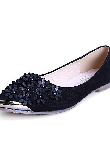 Toe negro 5 us10 zapatos PDX casual cn43 mujer vestido de señaló cerrado de rojo plano blue Flats comodidad Toe azul uk8 ante 5 talón eu42 Z4wPR
