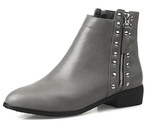 KUKI autumn and winter women boots knights boots low heels rivets women boots cheap boots large women boots Grey