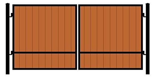 StandardGates Metal Wood Security Gates - Wrought Iron Wooden Driveway Gate Kit - Black Redwood ()