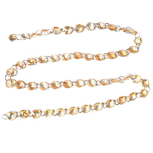 J-Rijzen 9.8 Feet Glass Crystal Beads Chain Garland for Tree Garlands Wedding Christmas Party Home Decoration(Amber)