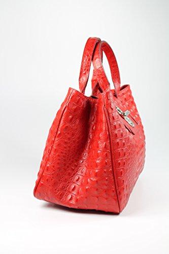Belli® Borsa Classica In Vera Pelle Goffratura In Coccodrillo Rosso - 36x25x18 Cm (lxhxp)