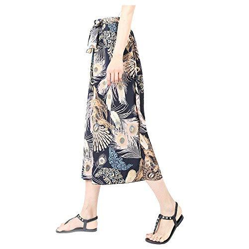 Eleganti Accogliente Pantaloni Scuro 4 Leggero Pantaloni Blu 3 Pantaloni Stampa Vintage Chiffon Pantaloni Palazzo Fashion Libero Larga Tempo Femminile Donna Waist Fiore Gamba High Baggy Costume Estivi zzAP7qxv