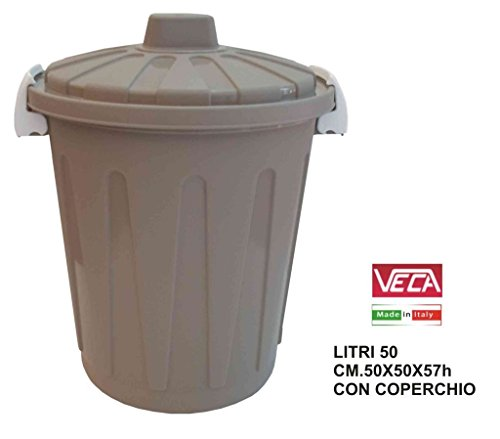 Blim Round Garbage Bin with Lid, Grey, One Size, 50 Litre - Buy