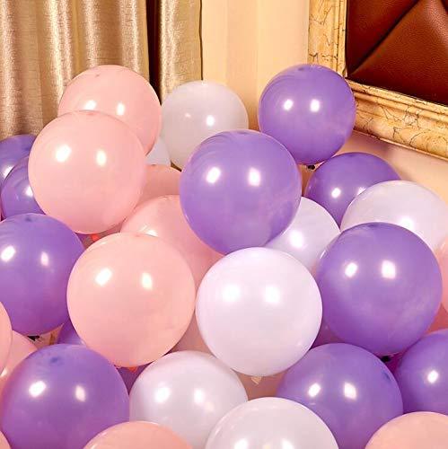 iygnaw 12inch Pearl Balloons Round Latex Balloons Wedding Balloons Birthday Kid Party Float Balloons Toys (Pink & Light Purple &White)]()