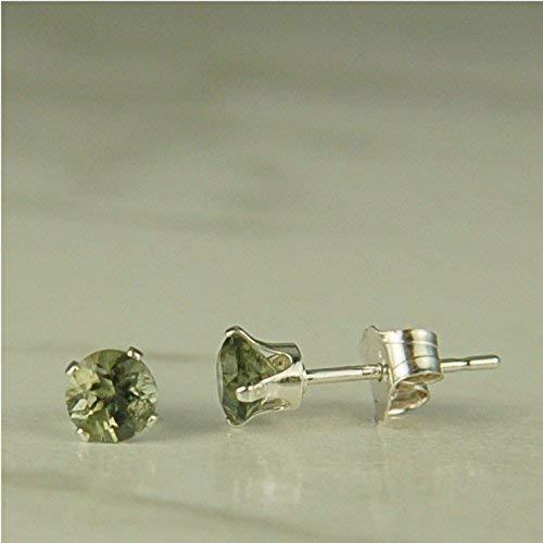 (Moldavite 4mm Sterling Silver Stud Earrings Natural Untreated)