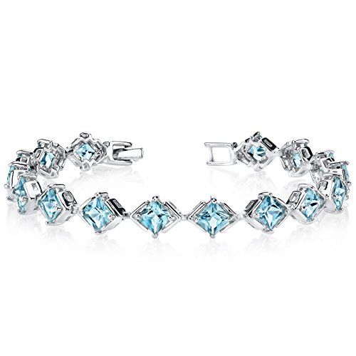 Swiss Blue Topaz Bracelet Sterling Silver Princess Cut 12.00 Carats