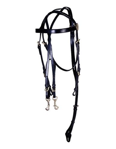 Tough-1 Leather Driving Harness Training Bridle