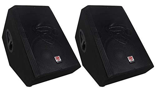 (2) Rockville RSM12P 12'' 2-Way Passive Floor Stage Monitor Speakers Totaling 2000 Watt Peak/1000 Watt Program Power/500 Watt RMS With 2.5'' KSV Voice Coils For Deep Bass and Incredible Acoustic Power by Rockville
