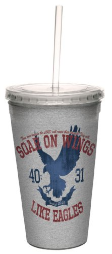 Tree-Free Greetings cc34339 Wings Like Eagles: Isaiah 40:31 Artful Traveler Double-Walled Cool Cup with Reusable Straw, 16-Ounce by Tree-Free Greetings
