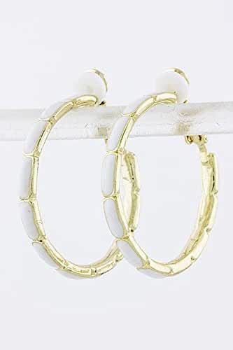 TRENDY FASHION JEWELRY COLORED CUT HOOP EARRINGS BY FASHION DESTINATION
