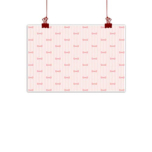 Simple Life Minimalist Baby,Vertical Stripes with Bow Ties Pale Palette Illustration Lovely Valentines Day,Rose Pale Pink 24