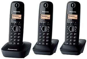 Panasonic KX-TG1613 - Kit de 3 teléfonos fijos digitales, negro (importado)