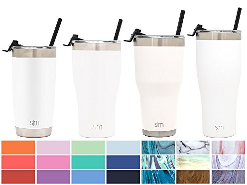Simple Modern 30oz Cruiser Tumbler with Straw & Closing Lid Travel Mug - Vacuum Insulated Water Coffee Cup Double Wall - Hydro 18/8 Stainless Steel Flask Thermos - Winter White (Modern White Cup)