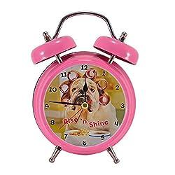 Mark Feldstein Rise 'N Shine Dog with Curlers Hot Pink 6 x 5 Metal Wacky Waker Alarm Clock
