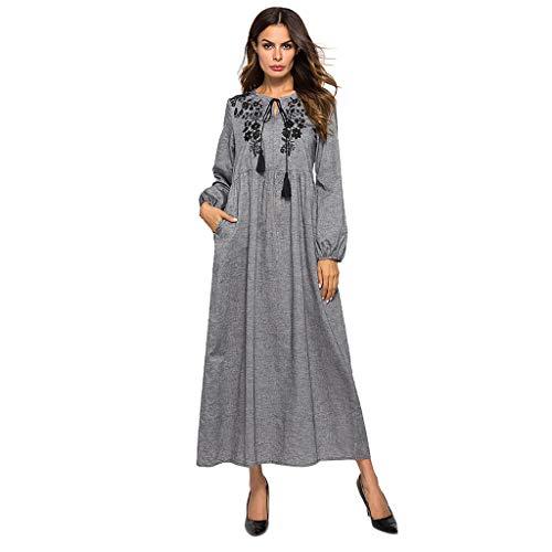 Women Muslim Dress,KIKOY Long Sleeve Embroidered Arab Dress Islamic Jilbab ()