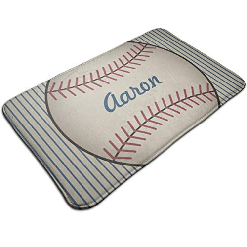 (Jhgsjnsf Personalized Kids Bathroom Baseball Door Mat Entrance Mat Floor Mat Rug Indoor/Outdoor/Front Door/Bathroom Mats Rubber Non Slip 19.7x31.5)