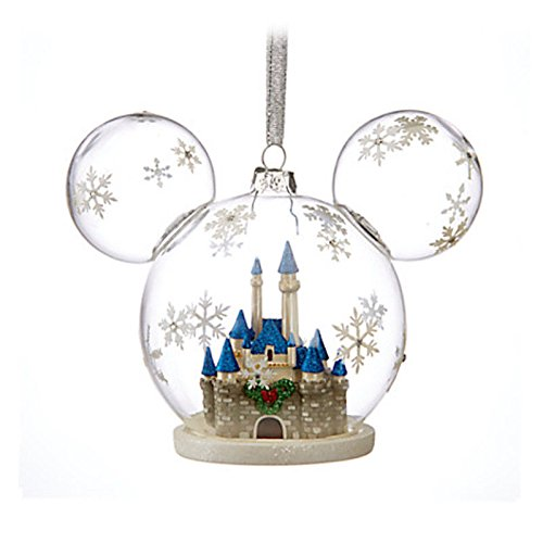 Disney Parks Mickey Icon Fantasyland Castle Glass Holiday Ornament