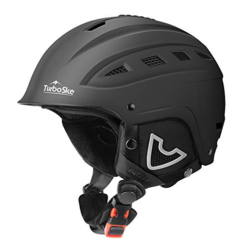 TurboSke Ski Helmet, Snow Sports Helmet, Snowboard Helmet Men Women Youth (Black, L (22