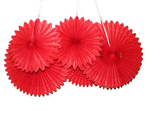 LG-Free 5pcs Party Paper Fan Large Assorted Fans Tissue Honeycomb Fans Hanging Paper Fans Decoration Wall Backdrop Paper Pom Poms Ceiling Wedding Birthday Party (5pcs, Red - Tissue Fan Red