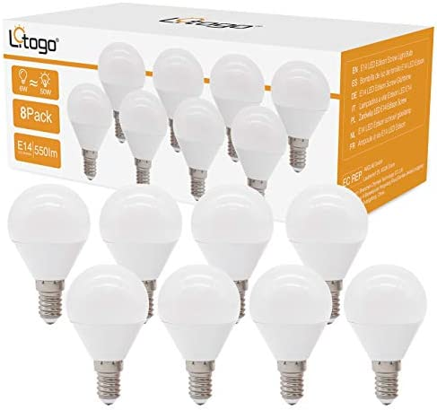 [8 Pack]E14 LED Light Bulbs, Small Edison Screw (SES) Golf Ball Bulbs (6W Equivalent to 50W), 550lm Energy Saving G45 Bulb Lights, 3000K Warm White, Non Dimmable for Living Room, Home, Bedroom
