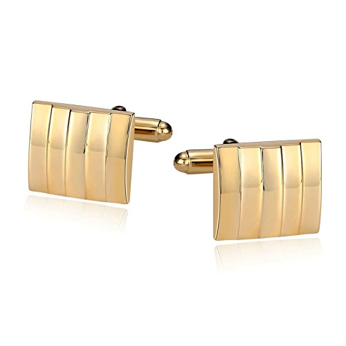 Pair Of Dice Costume (Epinki Mens Stainless Steel Vertical Stripe Sqaure Gold Cufflinks for Bussiness Wedding)