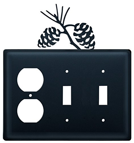 (Iron Pine Cone Outlet, Double Switch Cover - Black Metal)