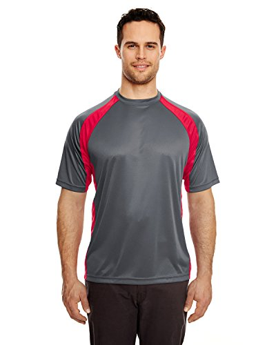 UltraClub Men's Two Tone Athletic Performance T Shir, L, Charcoal/Red