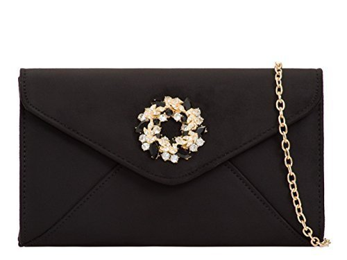 Occasion Party Ladies Clutch Dressy Bags Black Prom Faux I48 Foldover Envelope Suede Diamante Hand Evening Womens Tvn0AT