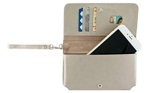 (Cellular Accents Compatible Phone Wallet Cash Zipper Stash Pouch Case Fits LG G6 Plus Q8 V20 K10 K20 V Plus X Venture X Power Harmony Stylo 3 Plus 3 HTC U11 U Play Bolt Desire 10 Pro Lifestyle (Beige))