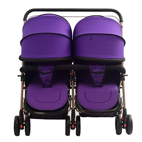 WDOPZMS Baby Stroller for Children – Baby Carriage Foldable Side by Side Stroller, Two-Way Together Double Stroller High View Tandem Stroller Lightweight Travel Buggy System (Color : Purple)