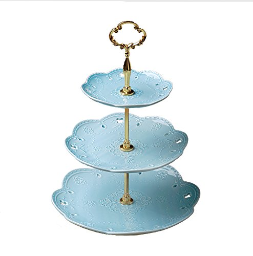 KingDao 3 tier Ceramic Cake Plate Stand Porcelain Plates Cupcake Stand Fruite Dessert Tray Stand Tea Party Pastry Serving Platter Food Display Stands Home Decor (Blue with gold stand)