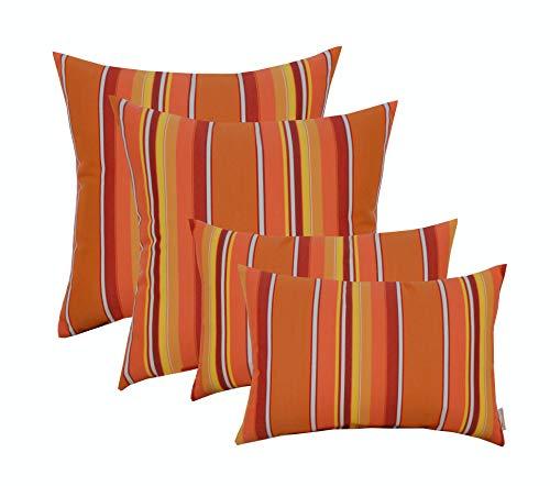 RSH Décor Set of 4 Indoor/Outdoor Square & Rectangle Lumbar Throw Pillows Made of Sunbrella Dolce Mango (20