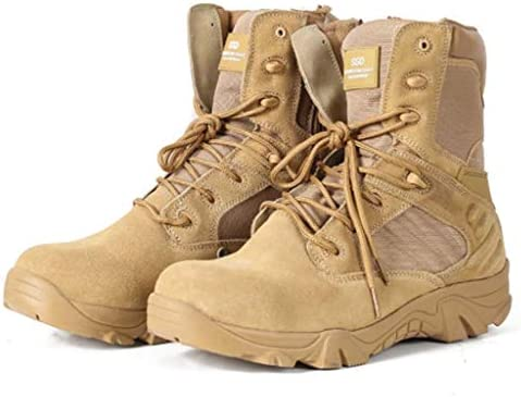 軍事戦術的なブーツ迷彩高いアクリルヘルプレースアップスタイルの登山靴快適な滑り止め耐摩耗耐久性に優れたラバーソール (色 : ベージュ, サイズ : 28 CM)