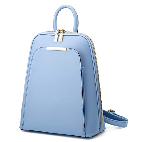 Bag Women Korean Style Backpack Shoulders Fashion Solid Color Women's Bags Leather Travel Backpack,Blue